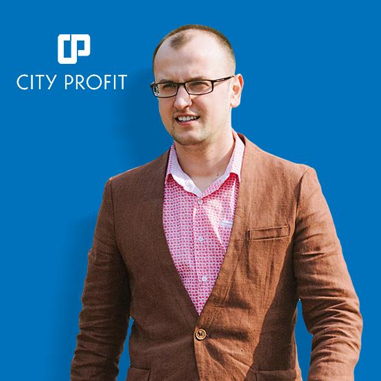 Маркетинг, Продажи и Реклама по бартеру в Сити Профит на синем фоне Pimenov Vladimir